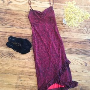 Dresses & Skirts - Vintage XS ruffled spaghetti strap midi dress